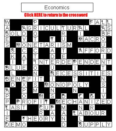 Crossword on Economics